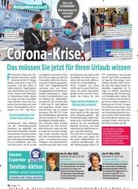 Titelbild der Ausgabe 13/2020 von Ratgeber aktuell: orona-Krise: Das müssen Sie jetzt für Ihren Urlaub wissen. Zeitschriften als Abo oder epaper bei United Kiosk online kaufen.