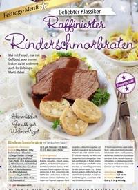 Titelbild der Ausgabe 4/2018 von Festtags-Menü 1: Beliebter Klassiker: Raffinierter Rinderschmorbraten. Zeitschriften als Abo oder epaper bei United Kiosk online kaufen.