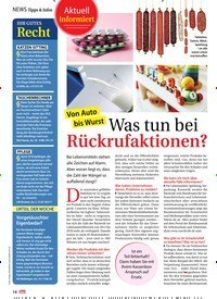 Titelbild der Ausgabe 45/2019 von Aktuell informiert: Von Auto bis Wurst: Was tun bei Rückrufaktionen?. Zeitschriften als Abo oder epaper bei United Kiosk online kaufen.