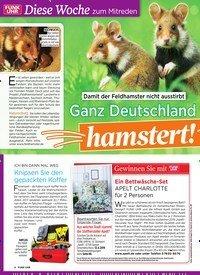 Titelbild der Ausgabe 14/2019 von Diese Woche zum Mitreden: Damit der Feldhamster nicht ausstirbt: Ganz Deutschland hamstert!. Zeitschriften als Abo oder epaper bei United Kiosk online kaufen.