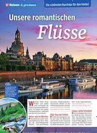 Titelbild der Ausgabe 36/2019 von Die schönsten Kurztrips für den Herbst: Unsere romantischen Flüsse. Zeitschriften als Abo oder epaper bei United Kiosk online kaufen.