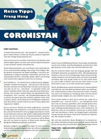 Titelbild der Ausgabe 1/2021 von Reise Tipps Fraag Haag: CORONISTAN. Zeitschriften als Abo oder epaper bei United Kiosk online kaufen.