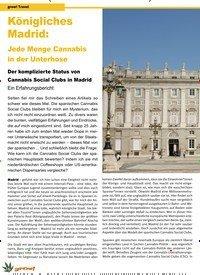 Titelbild der Ausgabe 1/2020 von grow! Travel: Königliches Madrid: Jede Menge Cannabis in der Unterhose. Zeitschriften als Abo oder epaper bei United Kiosk online kaufen.