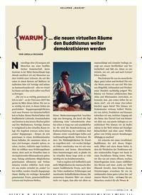 """Titelbild der Ausgabe 3/2020 von KOLUMNE """"WARUM""""… die neuen virtuellen Räume den Buddhismus weiter demokratisieren werden. Zeitschriften als Abo oder epaper bei United Kiosk online kaufen."""