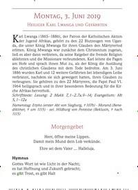 Titelbild der Ausgabe 6/2019 von MONTAG, 3. JUNI 2019 HEILIGER KARL LWANGA UND GEFÄHRTEN. Zeitschriften als Abo oder epaper bei United Kiosk online kaufen.