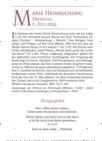 Titelbild der Ausgabe 7/2019 von Mariä Heimsuchung Dienstag. Zeitschriften als Abo oder epaper bei United Kiosk online kaufen.