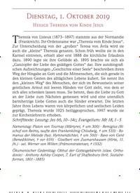 Titelbild der Ausgabe 10/2019 von DIENSTAG, 1. OKTOBER 2019: HEILIGE THERESIA VOM KINDE JESUS. Zeitschriften als Abo oder epaper bei United Kiosk online kaufen.