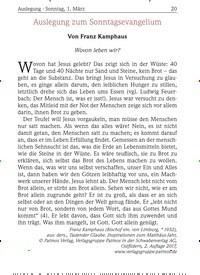 Titelbild der Ausgabe 3/2020 von Auslegung · Sonntag, 1. März: Auslegung zum Sonntagsevangelium. Zeitschriften als Abo oder epaper bei United Kiosk online kaufen.