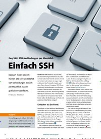 Titelbild der Ausgabe 2/2019 von EasySSH: SSH-Verbindungen per Mausklick: Einfach SSH. Zeitschriften als Abo oder epaper bei United Kiosk online kaufen.