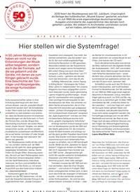 Titelbild der Ausgabe 7/2019 von 50 JAHRE ME: Hier stellen wir die Systemfrage!. Zeitschriften als Abo oder epaper bei United Kiosk online kaufen.