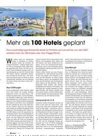 Titelbild der Ausgabe 11/2019 von Mehr als 100 Hotels geplant. Zeitschriften als Abo oder epaper bei United Kiosk online kaufen.