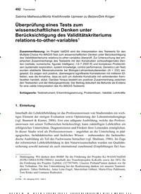 Titelbild der Ausgabe 4/2019 von Überprüfung eines Tests zum wissenschaftlichen Denken unter Berücksichtigung des Validitätskriteriums relations-to-other-variables1. Zeitschriften als Abo oder epaper bei United Kiosk online kaufen.