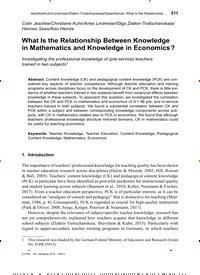 Titelbild der Ausgabe 4/2019 von What Is the Relationship Between Knowledge in Mathematics and Knowledge in Economics?. Zeitschriften als Abo oder epaper bei United Kiosk online kaufen.