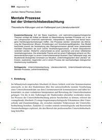 Titelbild der Ausgabe 6/2019 von Jochen Heins/Thomas Zabka: Mentale Prozesse bei der Unterrichtsbeobachtung. Zeitschriften als Abo oder epaper bei United Kiosk online kaufen.