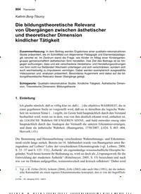 Titelbild der Ausgabe 6/2019 von Die bildungstheoretische Relevanz von Übergängen zwischen ästhetischer und theoretischer Dimension kindlicher Tätigkeit. Zeitschriften als Abo oder epaper bei United Kiosk online kaufen.