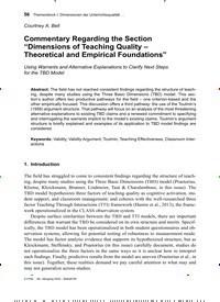 """Titelbild der Ausgabe 2/2020 von Commentary Regarding the Section """"Dimensions of Teaching Quality - Theoretical and Empirical Foundations"""". Zeitschriften als Abo oder epaper bei United Kiosk online kaufen."""