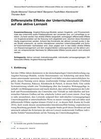 Titelbild der Ausgabe 2/2020 von Differenzielle Effekte der Unterrichtsqualität auf die aktive Lernzeit. Zeitschriften als Abo oder epaper bei United Kiosk online kaufen.