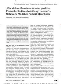 """Titelbild der Ausgabe 1/2020 von """"Ein kleiner Baustein für eine positive Persönlichkeitsentwicklung: """"nema"""" – Netzwerk Mädchen*arbeit Mannheim. Zeitschriften als Abo oder epaper bei United Kiosk online kaufen."""