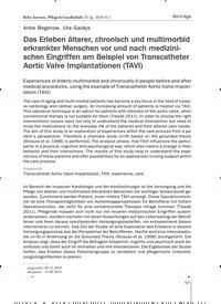 Titelbild der Ausgabe 1/2020 von Das Erleben älterer, chronisch und multimorbid erkrankter Menschen vor und nach medizinischen Eingriffen am Beispiel von Transcatheter Aortic Valve Implantationen (TAVI). Zeitschriften als Abo oder epaper bei United Kiosk online kaufen.