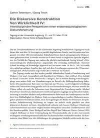 Titelbild der Ausgabe 2/2019 von Die Diskursive Konstruktion Von Wirklichkeit IV: Interdisziplinäre Perspektiven einer wissenssoziologischen Diskursforschung. Zeitschriften als Abo oder epaper bei United Kiosk online kaufen.