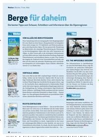 Titelbild der Ausgabe 10/2020 von Medien: Bücher, Filme, Web: Berge für daheim. Zeitschriften als Abo oder epaper bei United Kiosk online kaufen.