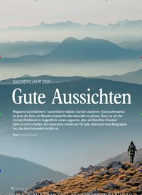 Titelbild der Ausgabe 1/2021 von DAS BERGJAHR 2021: Gute Aussichten. Zeitschriften als Abo oder epaper bei United Kiosk online kaufen.