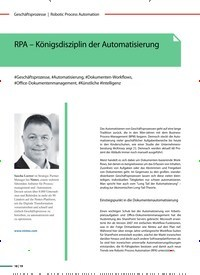 Titelbild der Ausgabe 3/2019 von RPA – Königsdisziplin der Automatisierung. Zeitschriften als Abo oder epaper bei United Kiosk online kaufen.
