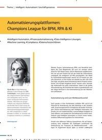 Titelbild der Ausgabe 1/2020 von Automatisierungsplattformen: Champions League für BPM, RPA & KI. Zeitschriften als Abo oder epaper bei United Kiosk online kaufen.