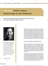 Titelbild der Ausgabe 1/2020 von Interview | Einfach machen! Business-Apps aus dem Baukasten.. Zeitschriften als Abo oder epaper bei United Kiosk online kaufen.