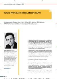 Titelbild der Ausgabe 2/2020 von Future Workplace: Ready. Steady. NOW!. Zeitschriften als Abo oder epaper bei United Kiosk online kaufen.