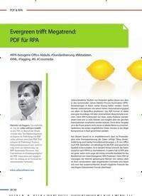 Titelbild der Ausgabe 2/2020 von Evergreen trifft Megatrend: PDF für RPA. Zeitschriften als Abo oder epaper bei United Kiosk online kaufen.
