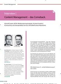 Titelbild der Ausgabe 4/2020 von Interview | Content Management-das Come back.. Zeitschriften als Abo oder epaper bei United Kiosk online kaufen.