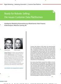 Titelbild der Ausgabe 6/2020 von Customer Data Platforms: Ready for Robotic Selling: Die neuen Customer Data Plattformen. Zeitschriften als Abo oder epaper bei United Kiosk online kaufen.