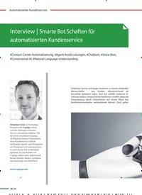 Titelbild der Ausgabe 2/2021 von Interview: Smarte Bot.Schaften für automatisierten Kundenservice. Zeitschriften als Abo oder epaper bei United Kiosk online kaufen.