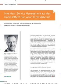 Titelbild der Ausgabe 2/2021 von Interview: Service Management aus dem Home-Office? Gut, wenn KI mit dabei ist.. Zeitschriften als Abo oder epaper bei United Kiosk online kaufen.
