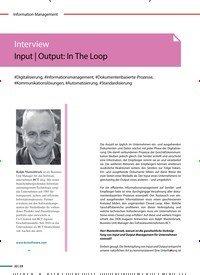 Titelbild der Ausgabe 1/2020 von Interview Input   Output: In The Loop. Zeitschriften als Abo oder epaper bei United Kiosk online kaufen.