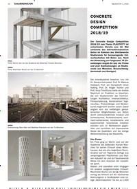 Titelbild der Ausgabe 1/2020 von betonBAUKULTUR: CONCRETE DESIGN COMPETITION 2018/19. Zeitschriften als Abo oder epaper bei United Kiosk online kaufen.