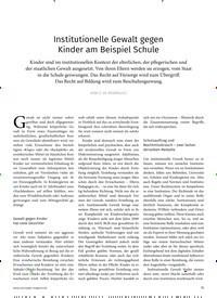 Titelbild der Ausgabe 4/2019 von Institutionelle Gewalt gegen Kinder am Beispiel Schule. Zeitschriften als Abo oder epaper bei United Kiosk online kaufen.