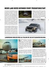 Titelbild der Ausgabe 1/2020 von NEUER LAND ROVER DEFENDER FEIERT PRODUKTIONSSTART. Zeitschriften als Abo oder epaper bei United Kiosk online kaufen.