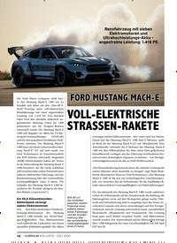 Titelbild der Ausgabe 8/2020 von FORD MUSTANG MACH-E: VOLL-ELEKTRISCHE STRASSEN-RAKETE. Zeitschriften als Abo oder epaper bei United Kiosk online kaufen.