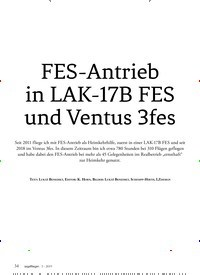 Titelbild der Ausgabe 3/2019 von FES-Antrieb in LAK-17B FES und Ventus 3fes. Zeitschriften als Abo oder epaper bei United Kiosk online kaufen.