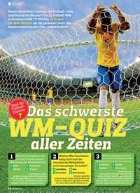 Titelbild der Ausgabe 13/2018 von SPORT: Das Schwerste Wm-Quiz Aller Zeiten. Zeitschriften als Abo oder epaper bei United Kiosk online kaufen.