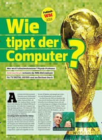Titelbild der Ausgabe 14/2018 von SPORT: Wie tippt der Computer?. Zeitschriften als Abo oder epaper bei United Kiosk online kaufen.