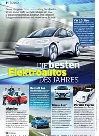 Titelbild der Ausgabe 7/2019 von TECHNIK: DIE besten Elektroautos DES JAHRES. Zeitschriften als Abo oder epaper bei United Kiosk online kaufen.