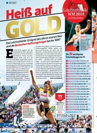 Titelbild der Ausgabe 20/2019 von Heiß auf GOLD: Leichtathletik-WM 2019 in Doha/Katar. Zeitschriften als Abo oder epaper bei United Kiosk online kaufen.
