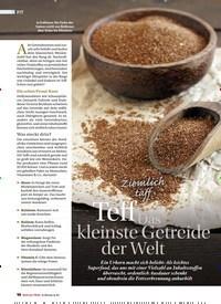 Titelbild der Ausgabe 6/2018 von Zie mlich taff: Teff Das kleinste Getreide der Welt. Zeitschriften als Abo oder epaper bei United Kiosk online kaufen.
