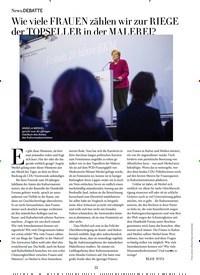 Titelbild der Ausgabe 12/2018 von DEBATTE: Wie viele FRAUEN zählen wir zur RIEGE der TOPSELLER in der MALEREI?. Zeitschriften als Abo oder epaper bei United Kiosk online kaufen.