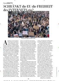 Titelbild der Ausgabe 5/2019 von DEBATTE: SCHRÄNKT die EU die FREIHEIT des INTERNETS ein?. Zeitschriften als Abo oder epaper bei United Kiosk online kaufen.