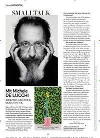 Titelbild der Ausgabe 6/2019 von SMALLTALK: Mit Michele DE LUCCHI. Zeitschriften als Abo oder epaper bei United Kiosk online kaufen.