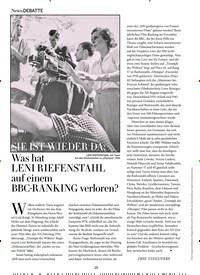 Titelbild der Ausgabe 1/2020 von SIE IST WIEDER DA:Was hat LENI RIEFENSTAHL auf einem BBC-RANKING verloren?. Zeitschriften als Abo oder epaper bei United Kiosk online kaufen.